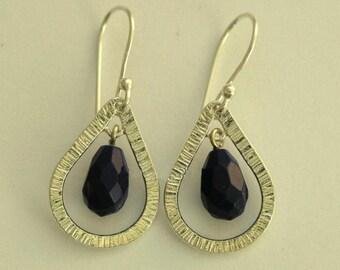 Black gemstone earrings, oxidized earrings, dangle earrings, drop earrings, black onyx earrings, sterling silver earrings - Vision. E7880-5