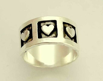 Valentines Ring, sterling silver band, silver heart ring, hearts ring, wedding band, engagement band, promise ring - Live laugh love. R1281A