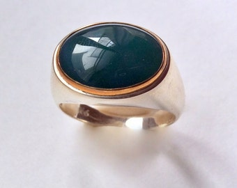 Cocktail ring, Forest green agate ring, oval gemstone ring, Silver gold ring, bohemian jewelry, Boho chic jewelry - Summer Rain R2237