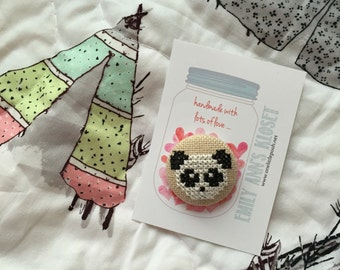 Panda Love Hand stitched needleminder