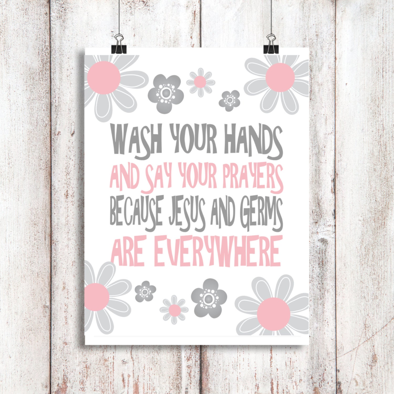 Wash Your Hands And Say Your Prayers Bathroom Art Bathroom