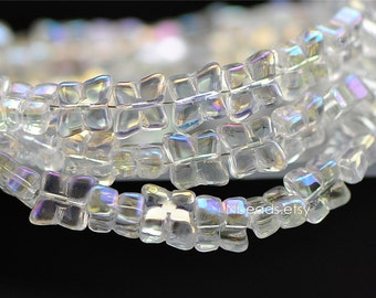 Unique Rhombus Glass beads 10mm Sparkly Clear AB (GM016-1)/ 75 beads