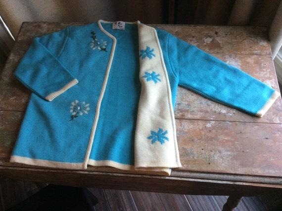 Vintage Alice Kaye 100 Percent Wool Sweater Cardigan Blue