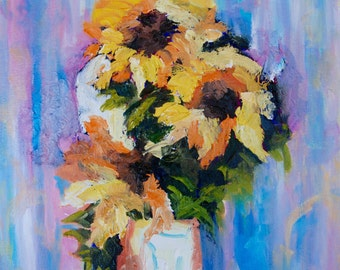 Palette Knife Modern Impressionist Sunflower Still Life Original Oil Painting by Rebecca Croft