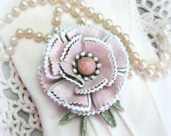 Pink Rose Pin . Rose Brooch Pin . Rose Flower Brooch Rose Flower Pin Rose Floral Brooch Rose Floral Pin Flower Broach Feminine Gift Under 20