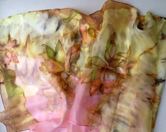 Hand painted silk scarf with floral motives - pastel colours - silk shawl - silk scarf painting - ponge silk 18x72inch