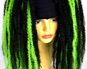 Diversity Hair® Krinklepuffs Hair falls - Black and Light Green