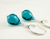 Teal Quartz Earrings, Peacock Blue Gemstone Bali Sterling Silver Teal Dangle Teal Drop Earrings, Teal Jewelry, Gemstone Jewelry, Blue Quartz