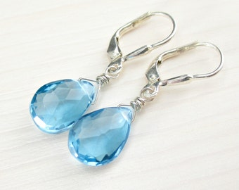 On SALE! Natural Blue Topaz Earrings, Swiss Blue Topaz, Sterling Silver, Natural Blue Gemstone, December Birthstone Topaz Jewelry Leverback