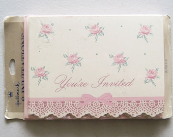 Vintage Hallmark Party Invitations Set of 8 Cards Old New Stock NIP Pink Roses Scalloped Edge Pink Envelopes