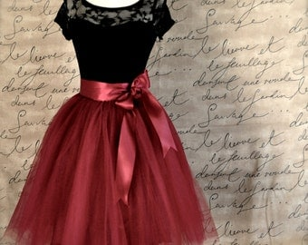Burgundy tulle skirt for women. Wide burgundy satin ribbon waist. Classic women's tutu skirt.