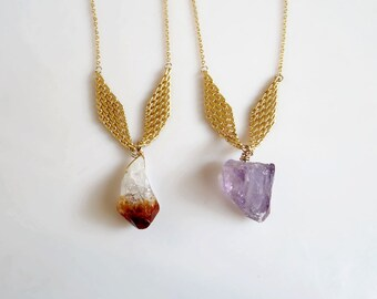 Gold Citrine Necklace, Raw Amethyst Necklace, Crystal Gemstone Necklace, February and November Birthstone Jewelry