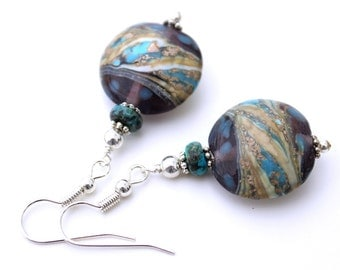Purple, Blue, and Gold Lampwork Glass Earrings