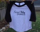 Sweet Baby James - Screenprinted Baby Baseball Tee