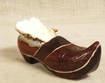 Antique Folk Art Shoe Ring Dish, Holder, Handmade, Hand Carved, Wooden Clog, European, Oyster Shell, Carving, Vanity, Dresser, Storage