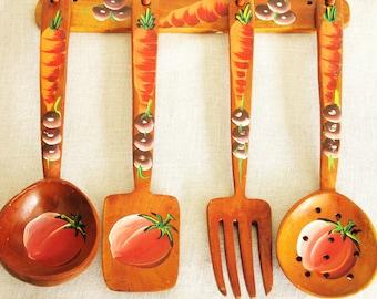 Wooden Utensils, Kitchen Utensils, Decorative, Hand Painted, Hand Made, Decorative Utensils, Large Fork, Large Spoon,Wooden Spoon,Collection