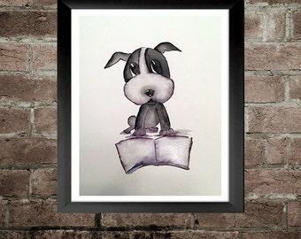 Little Dog Reading - Nursery Art Print