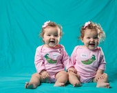 "Twin Girls bodysuits ""Sweet Peas"" set, Twin set of baby bodysuits, great baby shower gift for twin girls, twin girls gift"