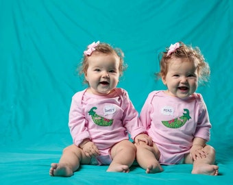 "Twin Girls bodysuits ""Sweet Peas"" set, Twin set of baby bodysuits, great baby shower gift for twin girls, twin girls gift"