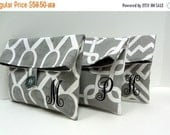 ON SALE Navy and Gray Bridesmaid Clutches Gray and Navy Wedding Monogrammed Clutches SET Of 3