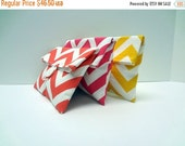 ON SALE READY To Ship Chevron Clutch Set of 3, Foldover Makeup Bags, Yellow Hot Pink Coral Chevron