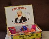 King Edward Imperial Cigar Box--Collectible Tobacciana Cigar Box--Mid Century Swisher Cigar Box-Storage Box-Trinket Box-60s