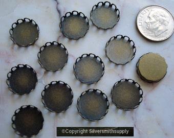 Bezel cups bronze plate 12mm round machine made gallery edge 12 bezel cups bc028