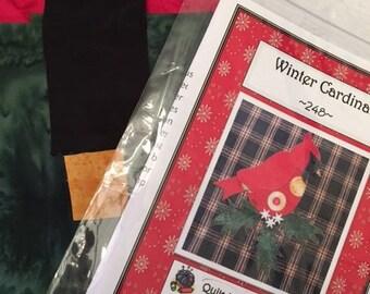 Winter Cardinal applique Tea Towel Kit with Pattern, blue towel