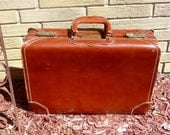 Clearance - Vintage Suitcase  Leather Saddle Brown Skymaster Universal