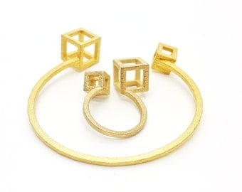 Cubed Stacking Cuff Bracelet // 3D printed jewelry // Gold and Raw Steel // Contemporary Jewelry