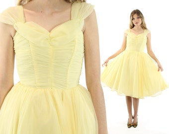 Vintage 50s Prom Dress Full Gahtered Skirt Party Light Yellow Chiffon 1950s XXS