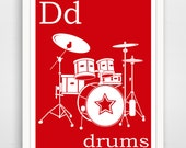 D is for Drums 8x10 inch Instant Download Printable