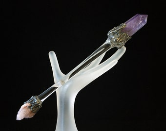 Amethyst gemstone Crystal Quartz  magic Wand alter tools ceremonial druid wiccan spell casting spirit quartz alter art Darlene Musser