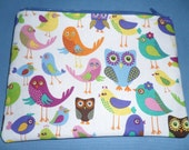 """Owls - 7"""" Zippered Pouch - Lined  - Colorful"""