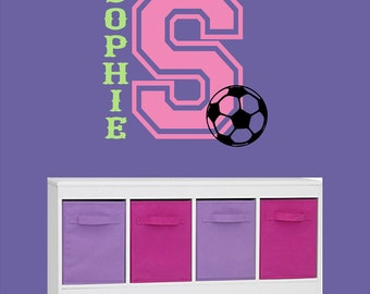 Varsity Letter Custom Personalized Name Vinyl Wall Decal with Soccer Ball