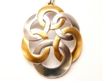 Trifari Gold and Silver Tone Pendant 3.25 Inches Modernist Design