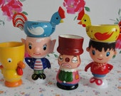 Set of 6 Vintage Wooden and Plastic Egg Cups Collectible Noddy