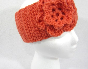 Coral Headwarmer, Crochet Orange Earwarmer, Winter Wear, Flowered Headband by Charlene, Womens Winter Accessory ~ Gift for Friend ~Cozy Wear