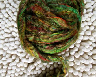 New Greens! Recycled Sari Silk Sliver for Art Yarn Weaving Spinning