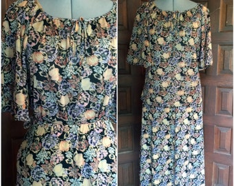 1970s Floral Two Piece Set Summer Blouse and Skirt