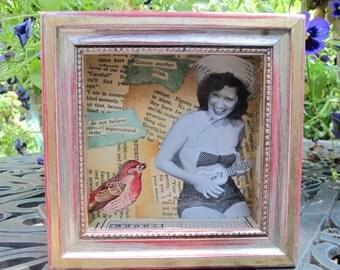 Tiny art collage, vintage mixed media, shadow box, art