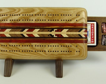 Cribbage Board, Cribbage, Board Game, Handmade Game, Two Player, Up and Down, ash 1