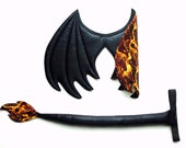 Two-toned Dragon Wings and Tail SET, dragon cosplay, Black and Fire print, Fire dragon, wire free, dragon costume, , Halloween costume