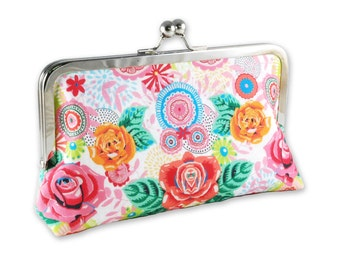 Colourful Floral Clutch Kisslock Purse Bag Red Rose Green Leaves Mandala Mirror Image Reflection White Orange Blue Roses Linen Cotton