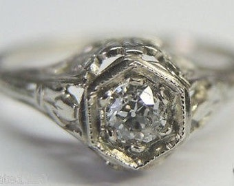 Antique Diamond White Gold Art Deco Engagement Ring |RE:661