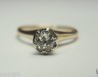 Antique Vintage Diamond Yellow Gold Engagement Ring | RE:584
