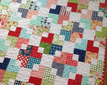 Baby Crib Lap Quilt in Red, pink, Aqua, green and Navy blue Gooseberry, Vintage Picnic and Ruby fabrics