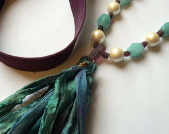 Bojo Leather Necklace in Purple with Teal Silk Sari Tassel, African Glass Beads, White Glass Pearls and Amazonite Gemstones