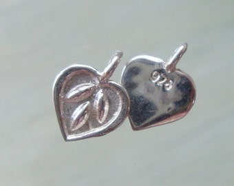 12x9mm, Bulk 10 pcs, Handmade 925 Sterling Silver Lotus Petal Pendant Charm - Heart with Tiny Leaves, PC-0053