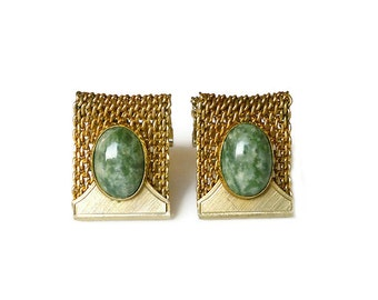 Anson Green Agate Gold Cufflinks - Mens Cufflinks, Green Agate, Mesh Weave, Gold Tone, Mens Jewelry, Vintage Accessories, Vintage Cufflinks